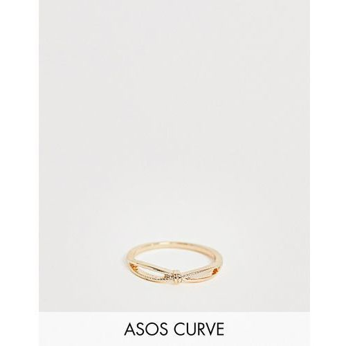 Asos design curve thumb ring in knotted cross twist design in gold - gold marki Asos curve