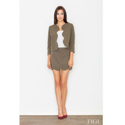 Elegancki oliwkowy komplet spódnica + żakiet, Figl, 36-42