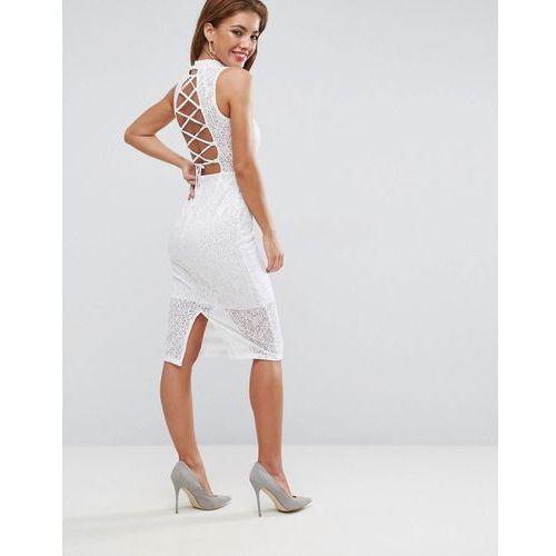 Asos lace high neck tie back midi dress - white