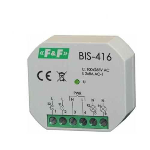 BIS-416 Przekaźnik bistab impuls włącz-wyłącz 2kanał. 265V 2xmax8A 2xNO F&F 8275, BIS-416/FIF