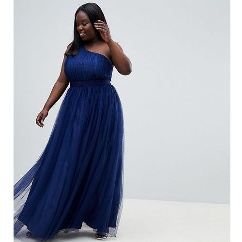 Asos design curve premium tulle one shoulder maxi dress - purple, Asos curve