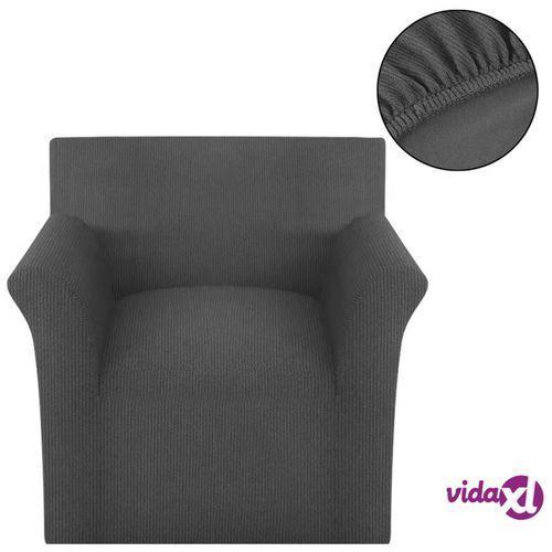 elastyczny pokrowiec na fotel, prążkowany, szary marki Vidaxl