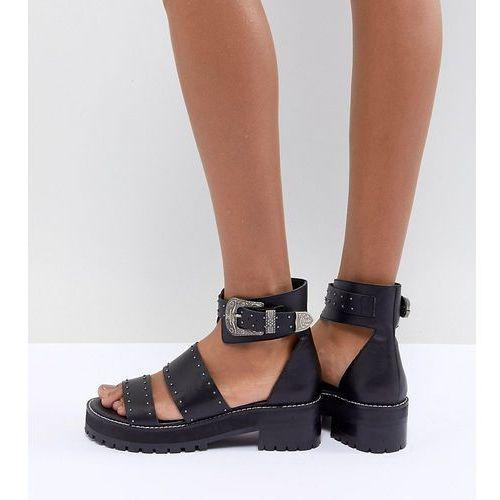 Asos design foxglove premium leather gladiator flat sandals - black