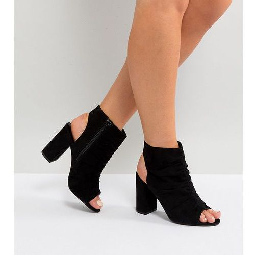 New look wide fit suedette peep toe rouche sandals - black