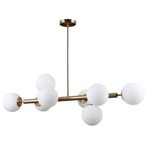 Italux Wisząca lampa modernistyczna raddi pns-5510-8-hbr metalowa oprawa molekuły zwis kule cumulus miodowy mosiądz białe