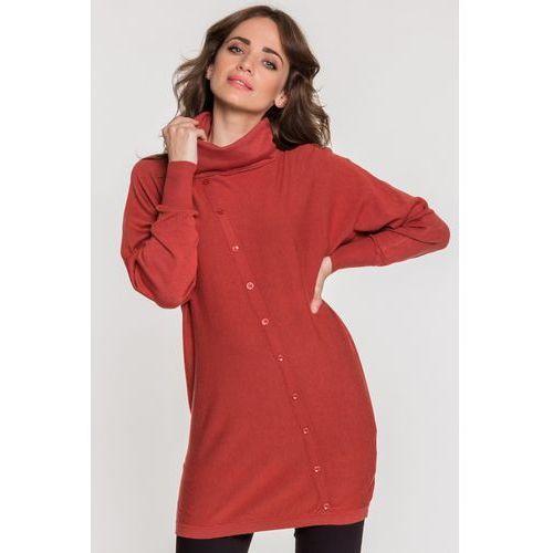 Ceglasty sweter z golfem - Lara Fabio, kolor czerwony
