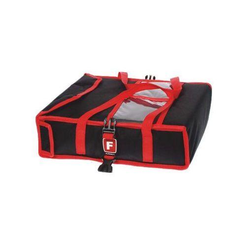 Torba wykonana z kodury na 2 kartony do pizzy o wymiarach 450x450 mm, ze stelażem, czarna z czerwoną lamówką   FURMIS, T2L U