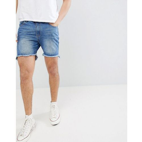 boohooMAN Slim Fit Denim Shorts With Raw Hem In Blue Wash - Blue