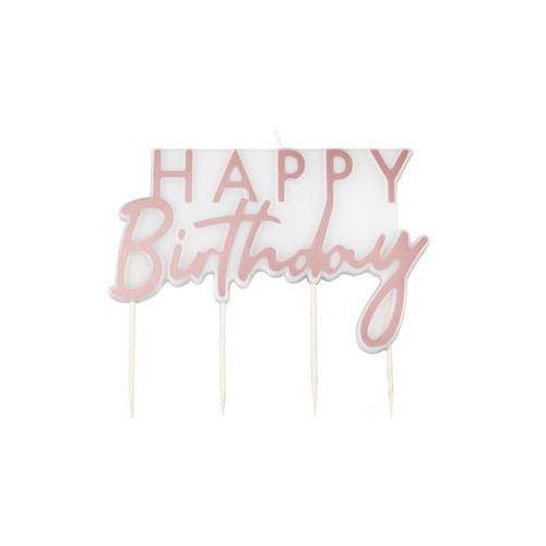Ginger ray Świeczka na pikerach happy birthday różowe złoto - 1 szt. (5056275132156)