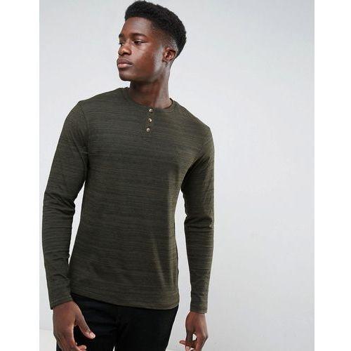 space dye long sleeve grandad t-shirt - green, Threadbare, XL-XXL