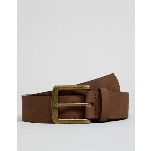 design vegan wide belt in brown faux leather with vintage gold buckle - brown marki Asos