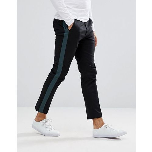 sergei contrast stripe trousers - black marki Weekday