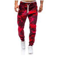 Spodnie dresowe joggery męskie moro-czerwone Denley 0367, kolor czerwony