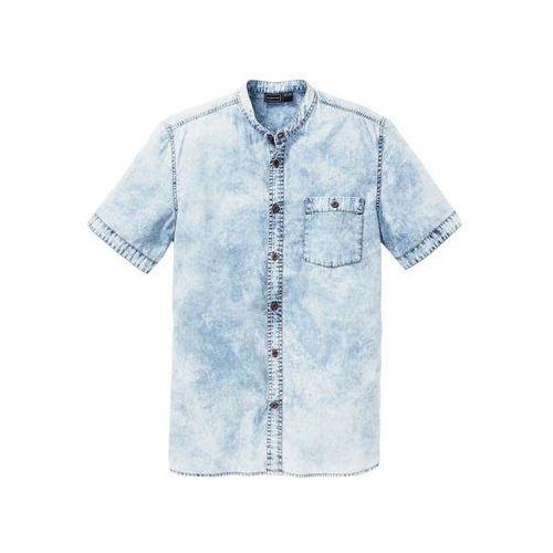 """Koszula dżinsowa z krótkim rękawem Slim Fit bonprix niebieski """"moon"""", kolor niebieski"""