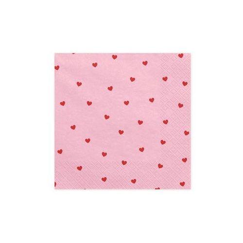 Party deco Serwetki urodzinowe różowe w czerwone serduszka - 33 cm - 20 szt.