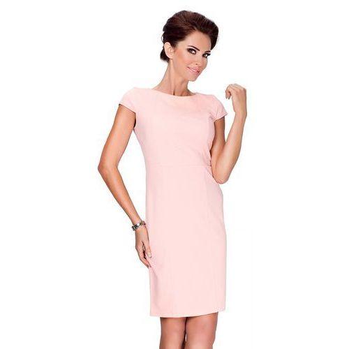 Brzoskwiniowa Sukienka Elegancka Ołówkowa z Półrękawkiem, ołówkowa