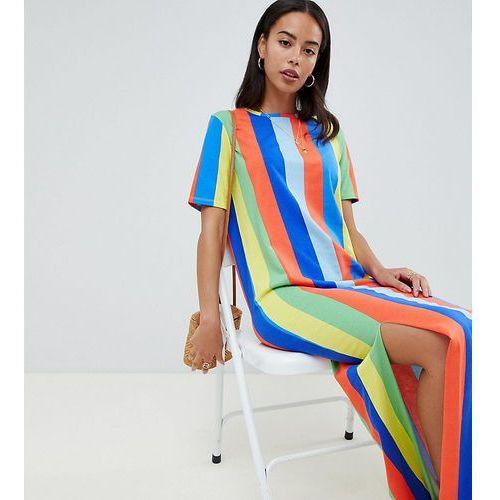 Asos design tall ultimate t-shirt maxi dress in rainbow stripe - multi, Asos tall