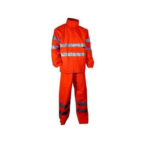 Komplet przeciwdeszczowy, spodnie i kurtka ostrzegawcza pomarańczowa, rozmiar XL