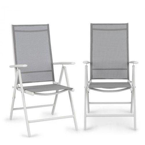 almeria krzesło składane zestaw 2 szt. 59,5x107x68 cm comfortmesh aluminium białe marki Blumfeldt