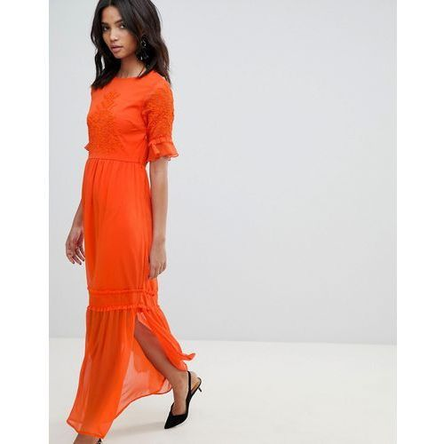 Y.a.s lace embroidered maxi dress - orange