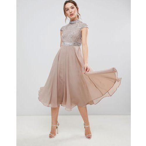 ASOS DESIGN Premium Short Sleeve Midi Dress With Heavily Embellished Bodice - Pink