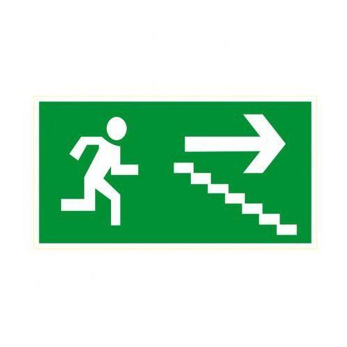 Kierunek drogi ewakuacyjnej schodami w dół w prawo marki B2b partner