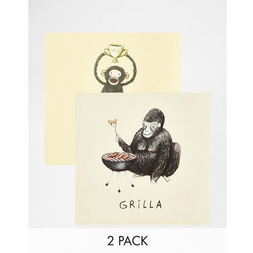 Ohh Dear Animal Cards In 2 Pack Gorilla & Chimpion - Multi