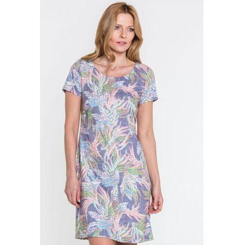Niebieska sukienka w kwiaty - marki Sobora