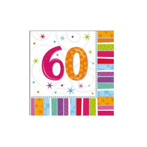 Serwetki urodzinowe na sześćdziesiąte urodziny - 60tka - 33 x 33 cm - 16 szt.