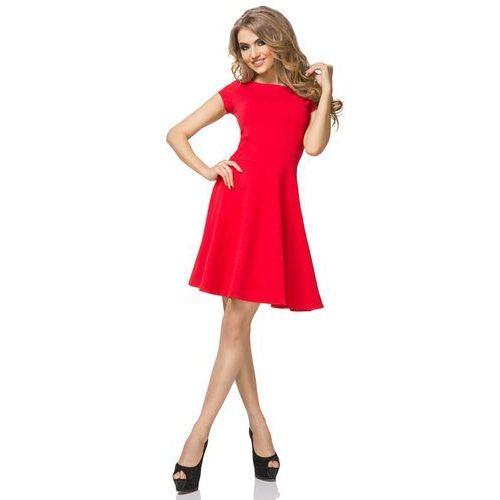 Czerwona sukienka klasyczna rozkloszowana z mini rękawkiem marki Tessita