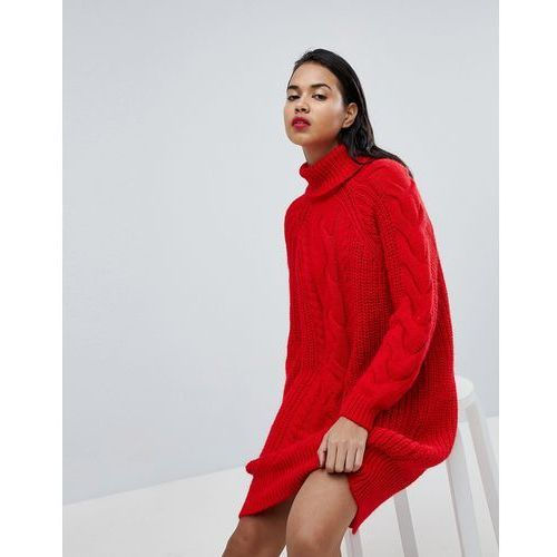 River Island Chunky Cable Knit Midi Jumper Dress - Red