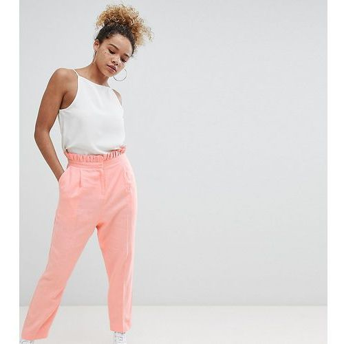 ASOS DESIGN Petite tailored casual linen trouser with frill waist - Pink, kolor różowy