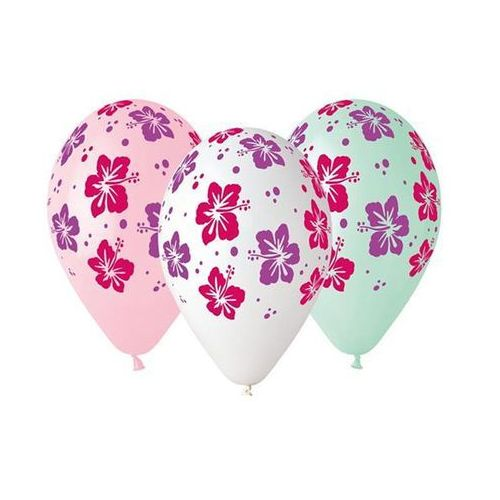 Balony lateksowe z kwiatami hibiskusa - 33 cm - 5 szt. marki Go