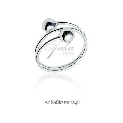 Srebrny pierścionek z dwoma kulkami marki Anka biżuteria