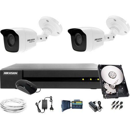 Hikvision hiwatch Tani monitoring sklepu, magazynu hwd-7104mh-g2, 2 x hwt-b140-m, 1tb, akcesoria