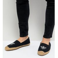 wide fit embroided espadrilles in navy - navy, Frank wright