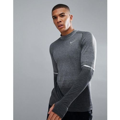 dri-fit long sleeve top with mock neck in grey 885304-060 - grey, Nike running