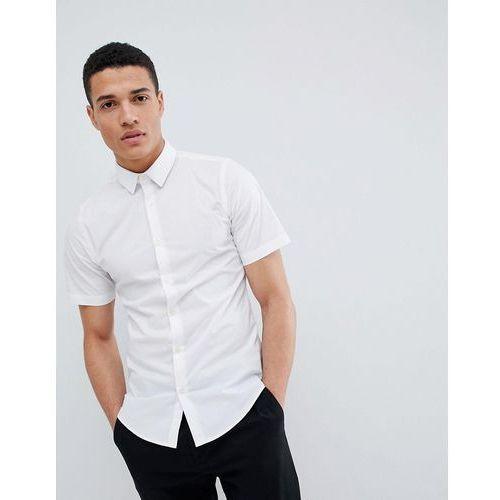 French Connection Plain Poplin Stretch Short Sleeve Shirt - White, kolor biały