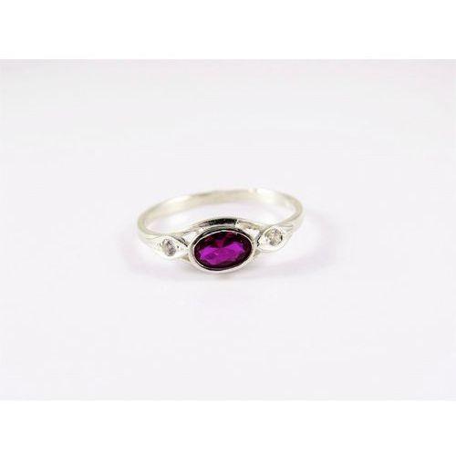 Srebrny pierścionek 925 RÓŻOWE OCZKO r. 15, kolor różowy