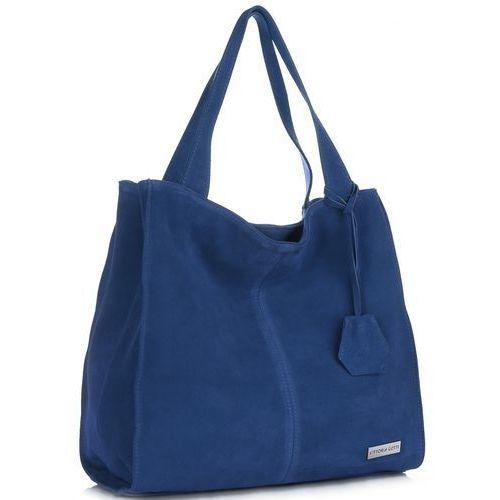 bf272e82c095b Vittoria Gotti Uniwersalne Torebki Skórzane Na co dzień ShopperBag XL  Niebieska - Jeans (kolory)