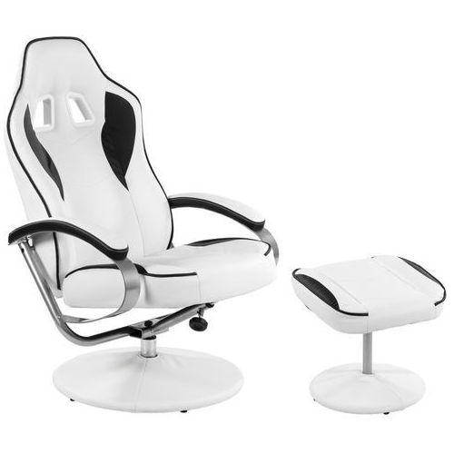 Makstor.pl Biało czarny fotel wypoczynkowy obrotowy dla gracza przed tv - biało - czarny