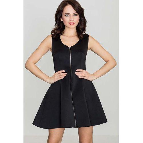 Czarna rozkloszowana sukienka bez rękawów z długim suwakiem na przodzie, Katrus, 36-42