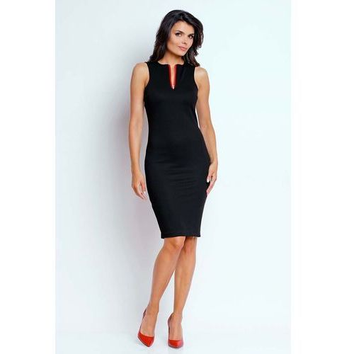 0b98c90988 Czarna ołówkowa letnia sukienka z kontra.