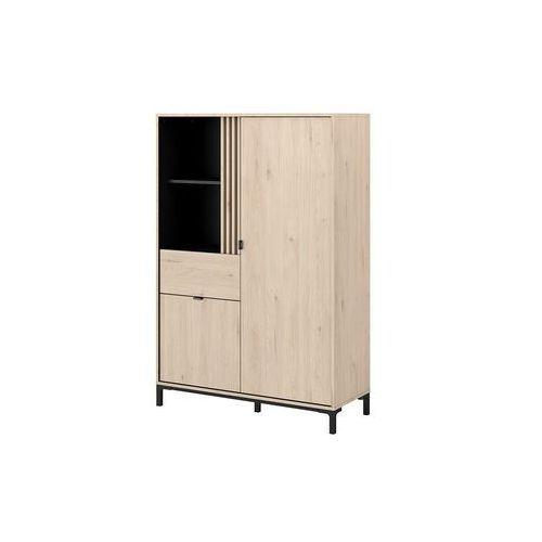 Witryna rislane – 2-drzwiowa z 1 szufladą i 2 wnękami – kolor: dębowy i czarny marki Vente-unique