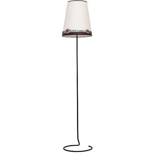 Lampa stojąca z ozdobnym abażurem koral a1 1x60w e27 biały/brąz 604a1 marki Aldex