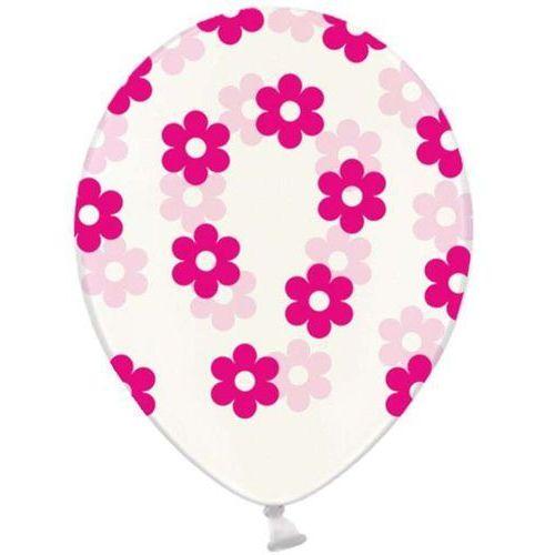 Twojestroje.pl Balon lateks przezroczysty różowe kwiatki 30 cm 1szt (5901157491749)