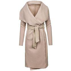 Beżowy płaszcz damski Denley 1729 - BEŻOWY