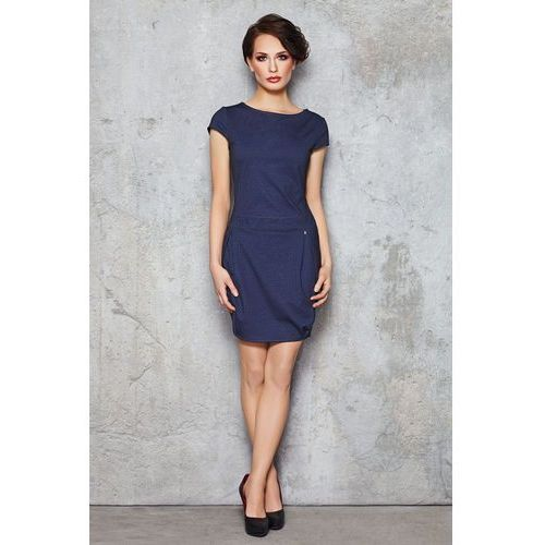 Jeansowa Sukienka Bombka z Krótkim Rękawem, w 4 rozmiarach