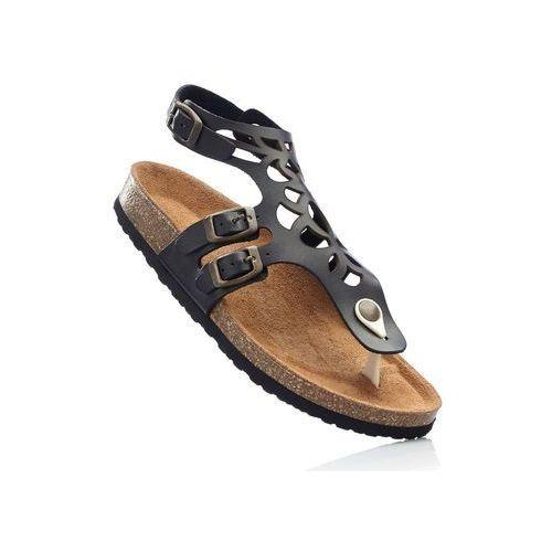 Bonprix Wygodne sandały skórzane czarny