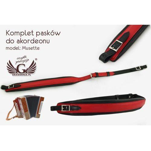 Grawernia.pl - grawerowanie i wycinanie laserem Komplet pasków do akordeonu czerwono-czarne - model musette - wersja komfort - pda001